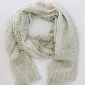 Rippled Print Wood Scarf - Jade