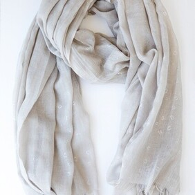 Oatmeal and Silver Cheetah Print Scarf
