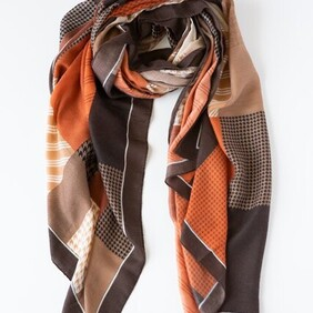 Herringbone Stripe Rust & Chocolate Scarf