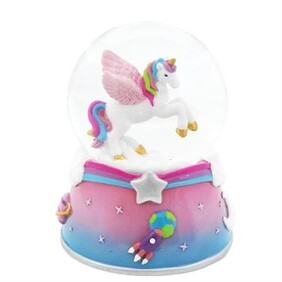 Pink Poppy To the Moon Musical Snow Globe