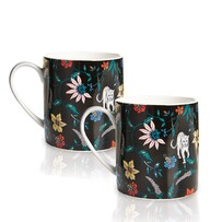 Botswana Botanical Mugs Set of 2 Black