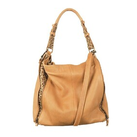 Safari - Camel with Leopard Insert Handbag