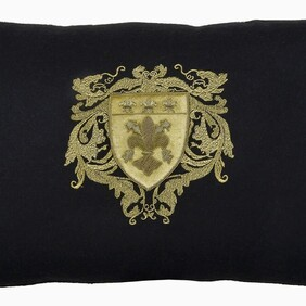 Fleur de Lys Black Wool Rectangle