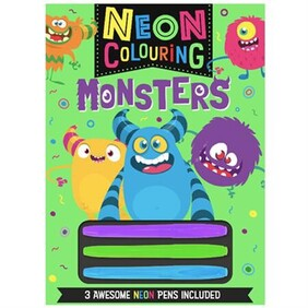 Neon Colouring with Pencils Monsters