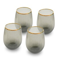 Charcoal Stemless Wine Glass Gold Rim Set 4